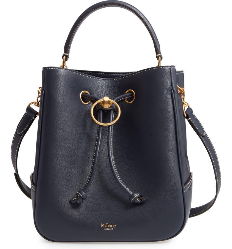 MULBERRY Hampstead Silky Calfskin Leather Bucket Bag, Main, color, 400