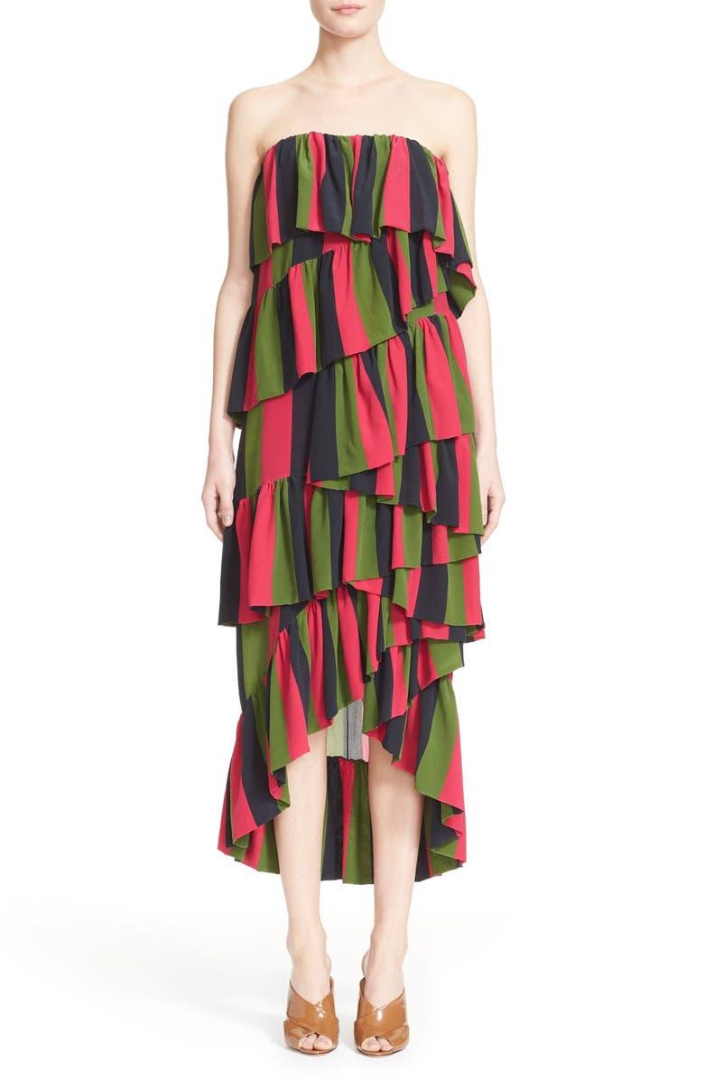 ISA ARFEN 'Full On' Tiered Ruffle Dress, Main, color, 001