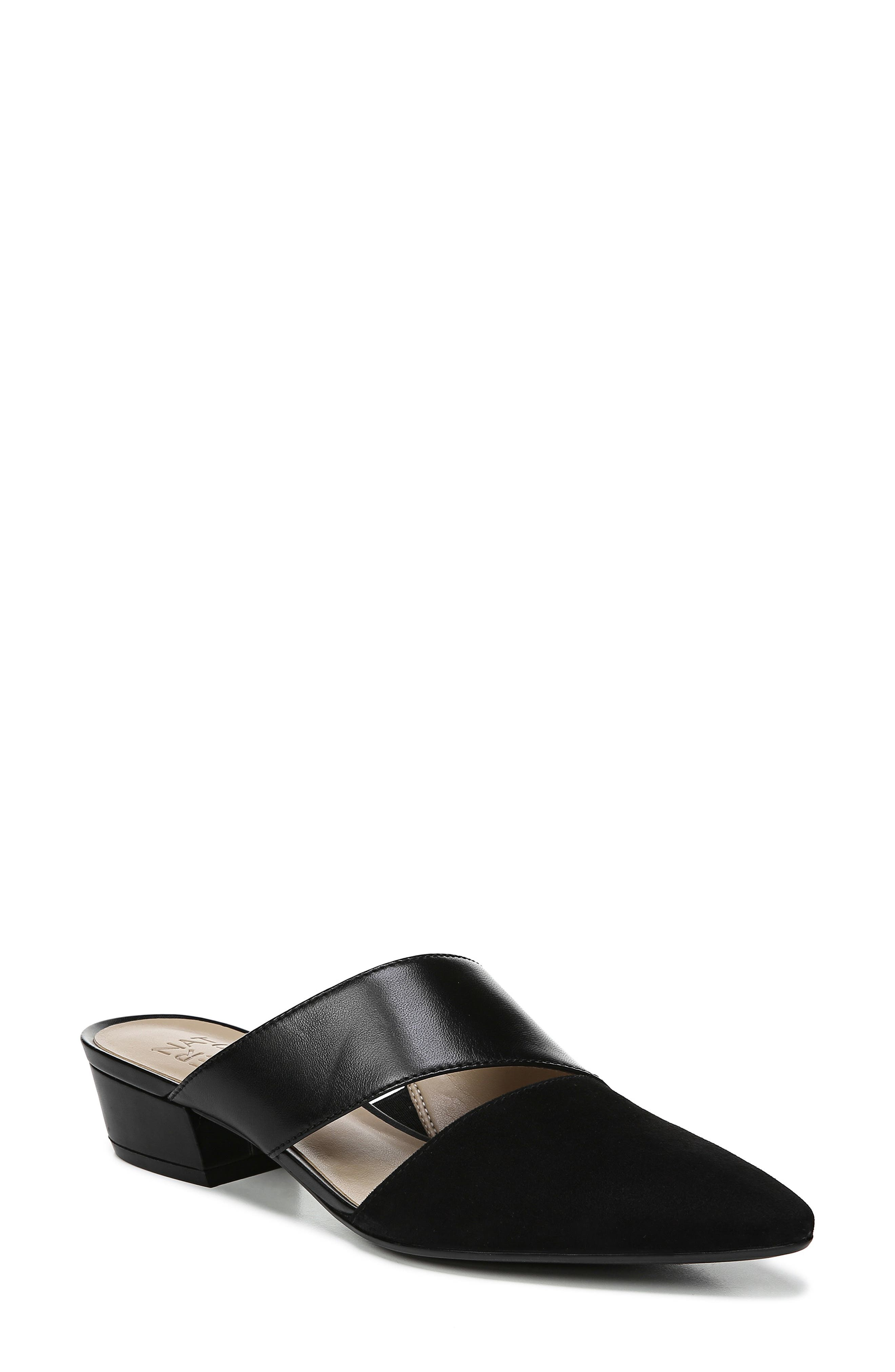 Bev Pointy Toe Mule, Main, color, BLACK SUEDE/ LEATHER