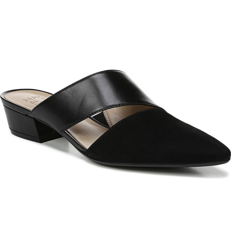NATURALIZER Bev Pointy Toe Mule, Main, color, BLACK SUEDE/ LEATHER