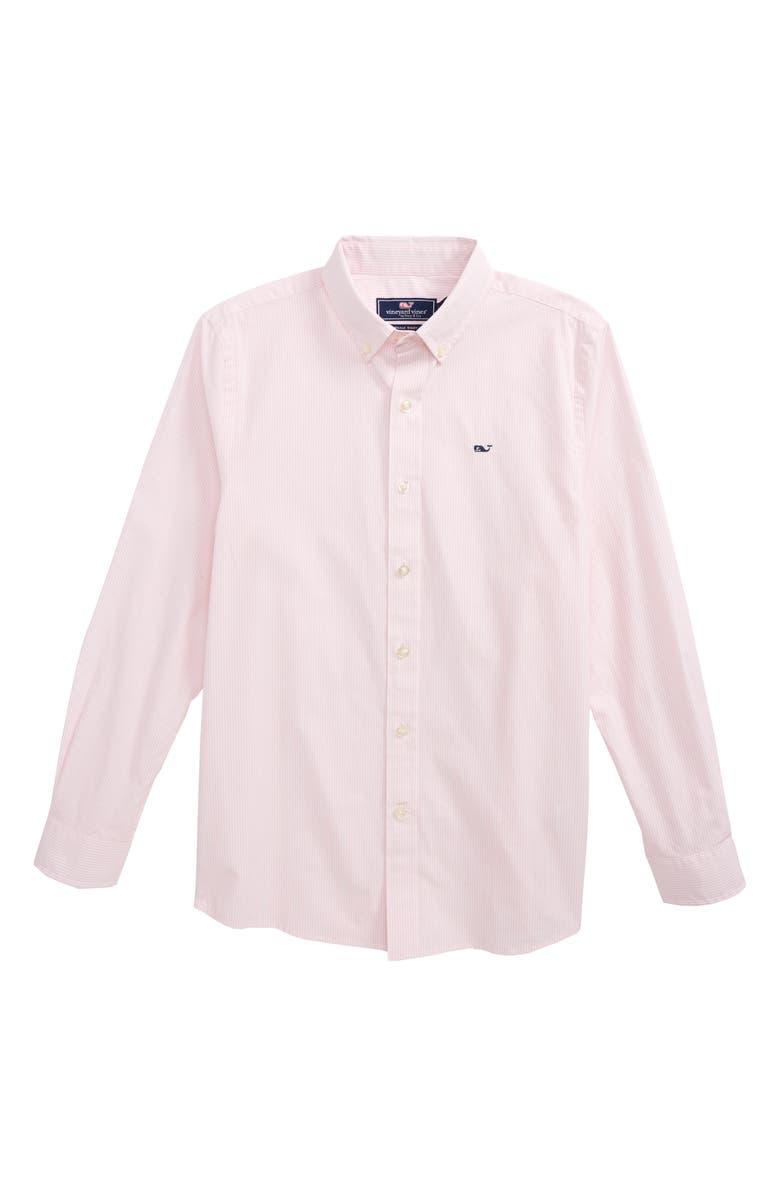 VINEYARD VINES Fine Line Stripe - Whale Woven Shirt, Main, color, FLAMINGO