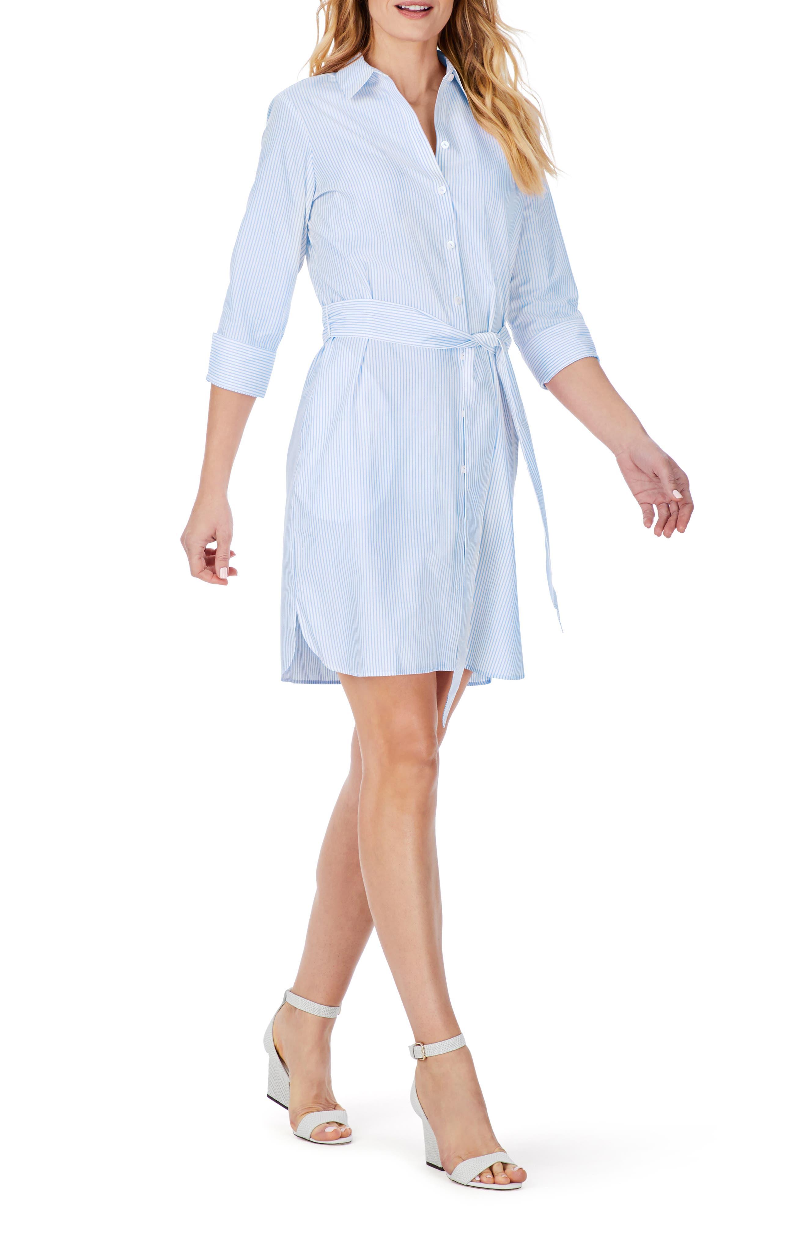 Stripe Belted Non-Iron Shirtdress