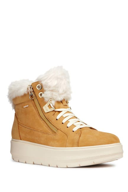 Image of GEOX Kaula Faux Fur Leather Sneaker Boot
