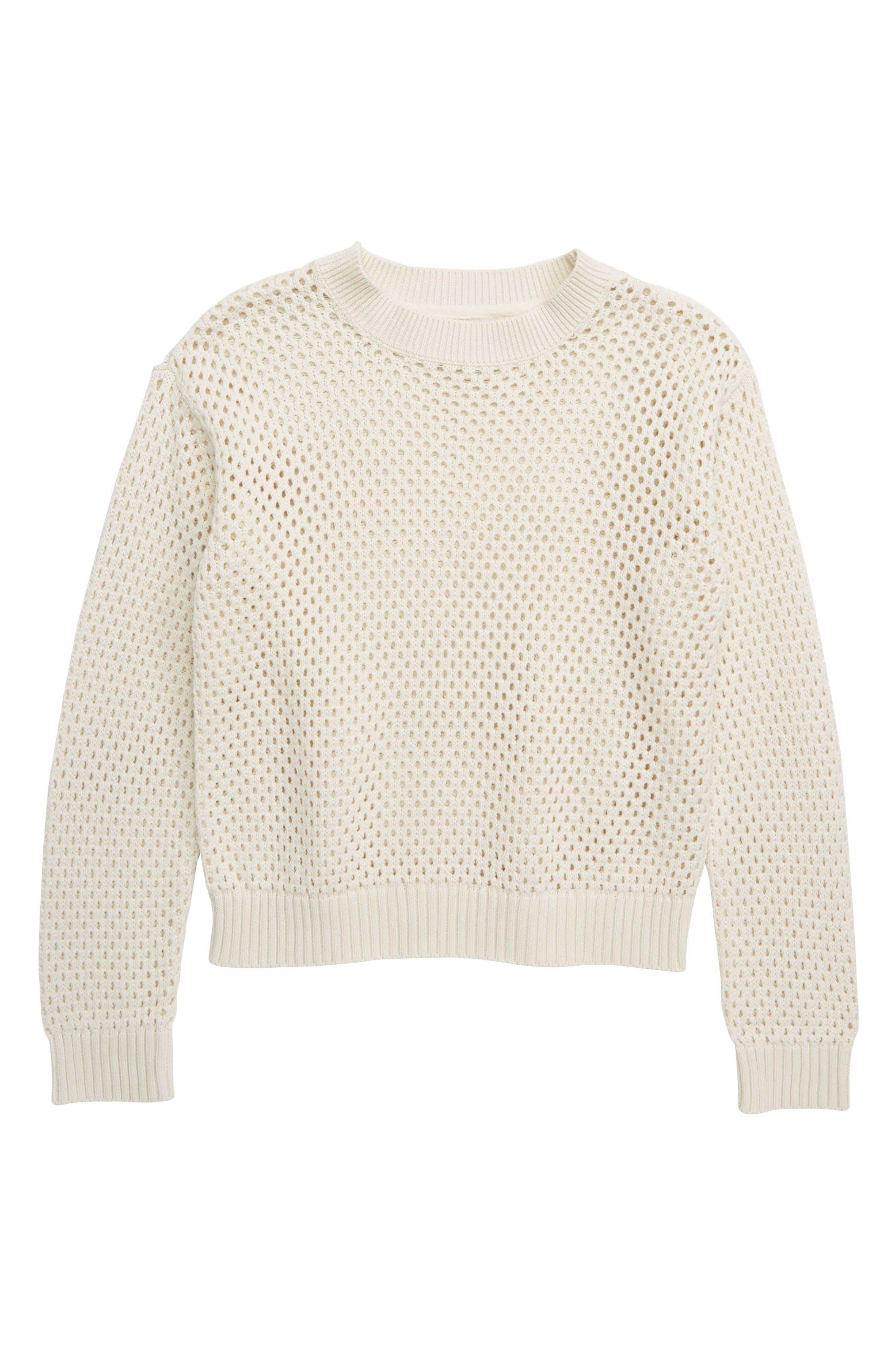 ,                             Pointelle Sweater,                             Main thumbnail 1, color,                             IVORY EGRET