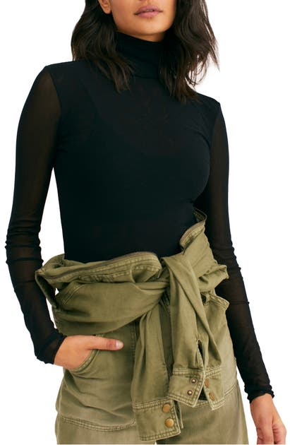 Free People Tops DOUBLE LAYER MESH TURTLENECK TOP