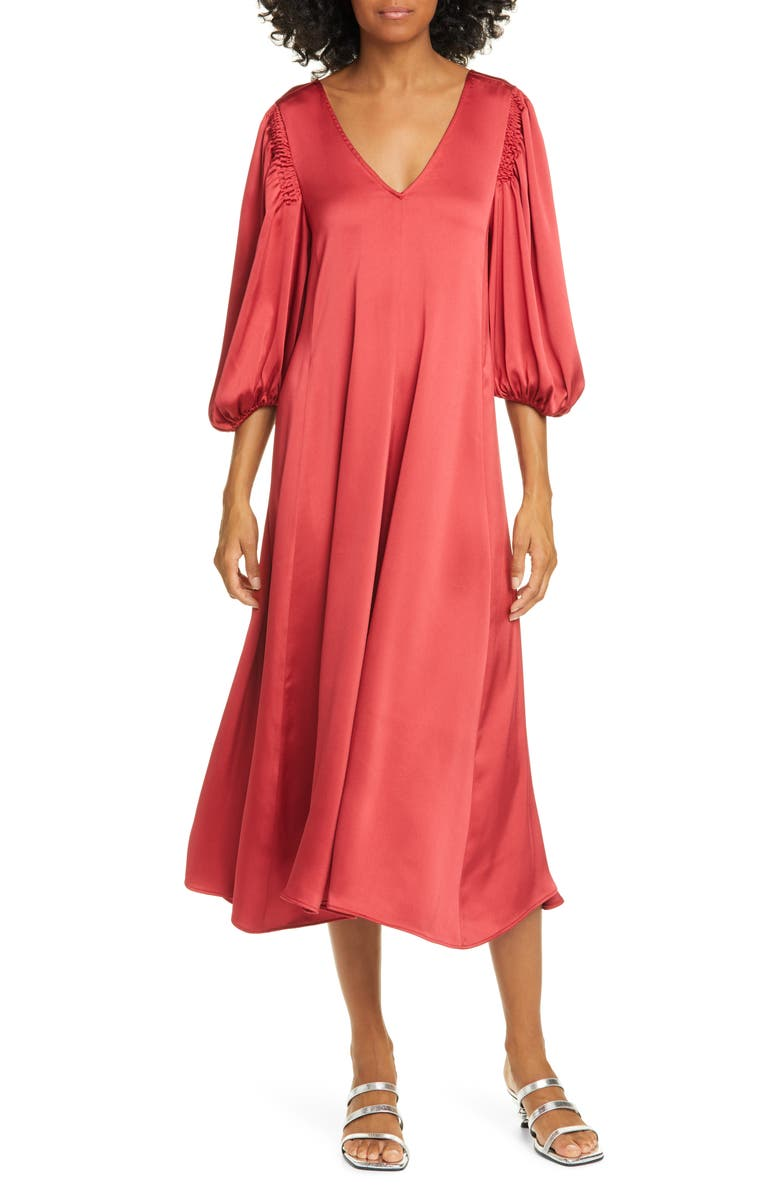 STINE GOYA Marlen Satin Midi Dress, Main, color, 800
