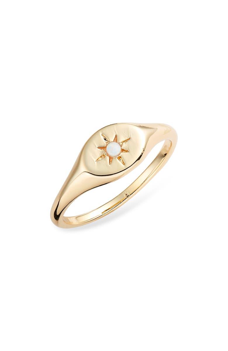 GORJANA Luna Signet Ring, Main, color, GOLD