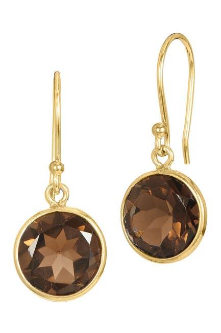 Image of Savvy Cie 18K Gold Vermeil Sterling Silver Smokey Quartz Drop Earrings