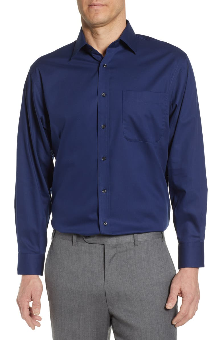 NORDSTROM MEN'S SHOP Classic Fit Non-Iron Solid Dress Shirt, Main, color, NAVY MEDIEVAL