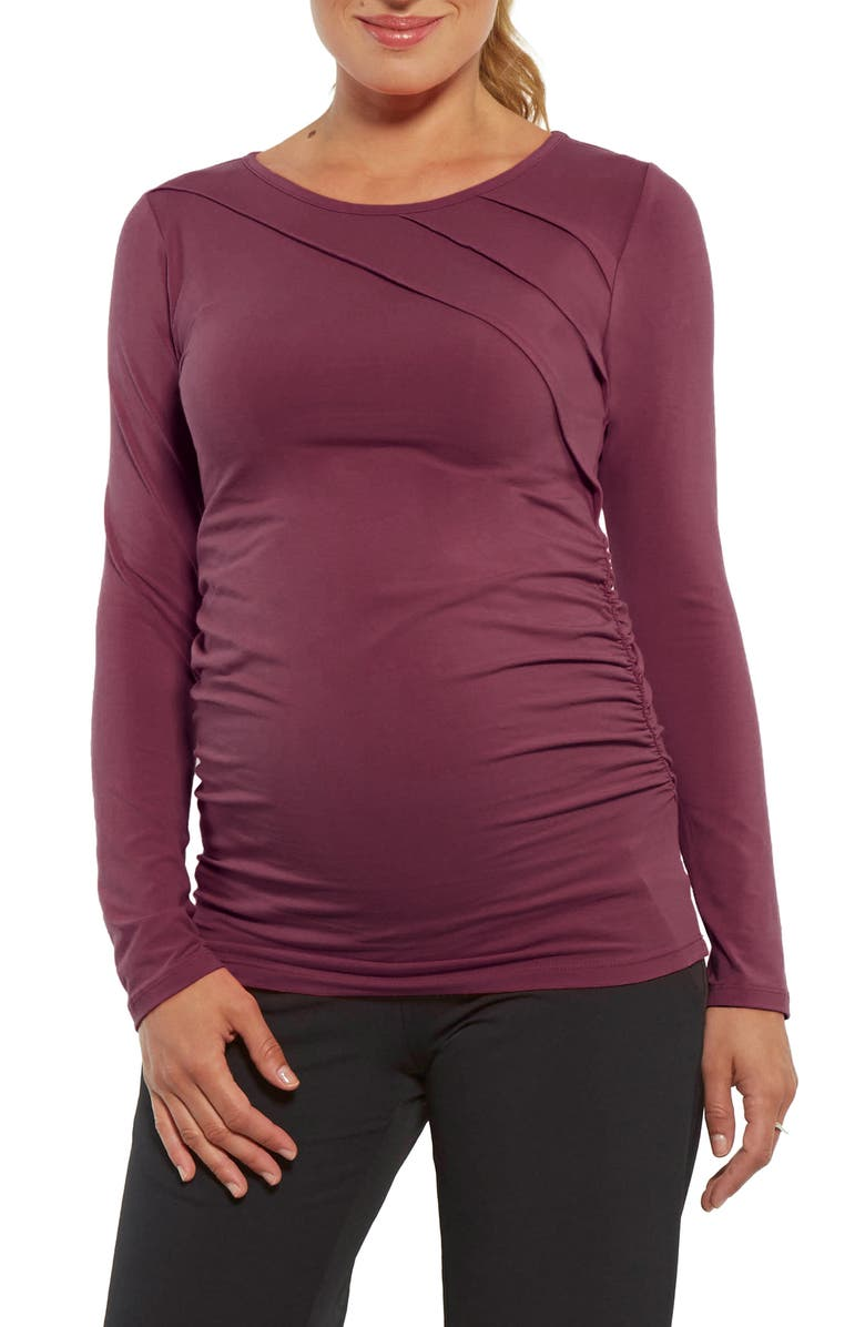 STOWAWAY COLLECTION Sunburst Pleated Maternity Top, Main, color, WINE
