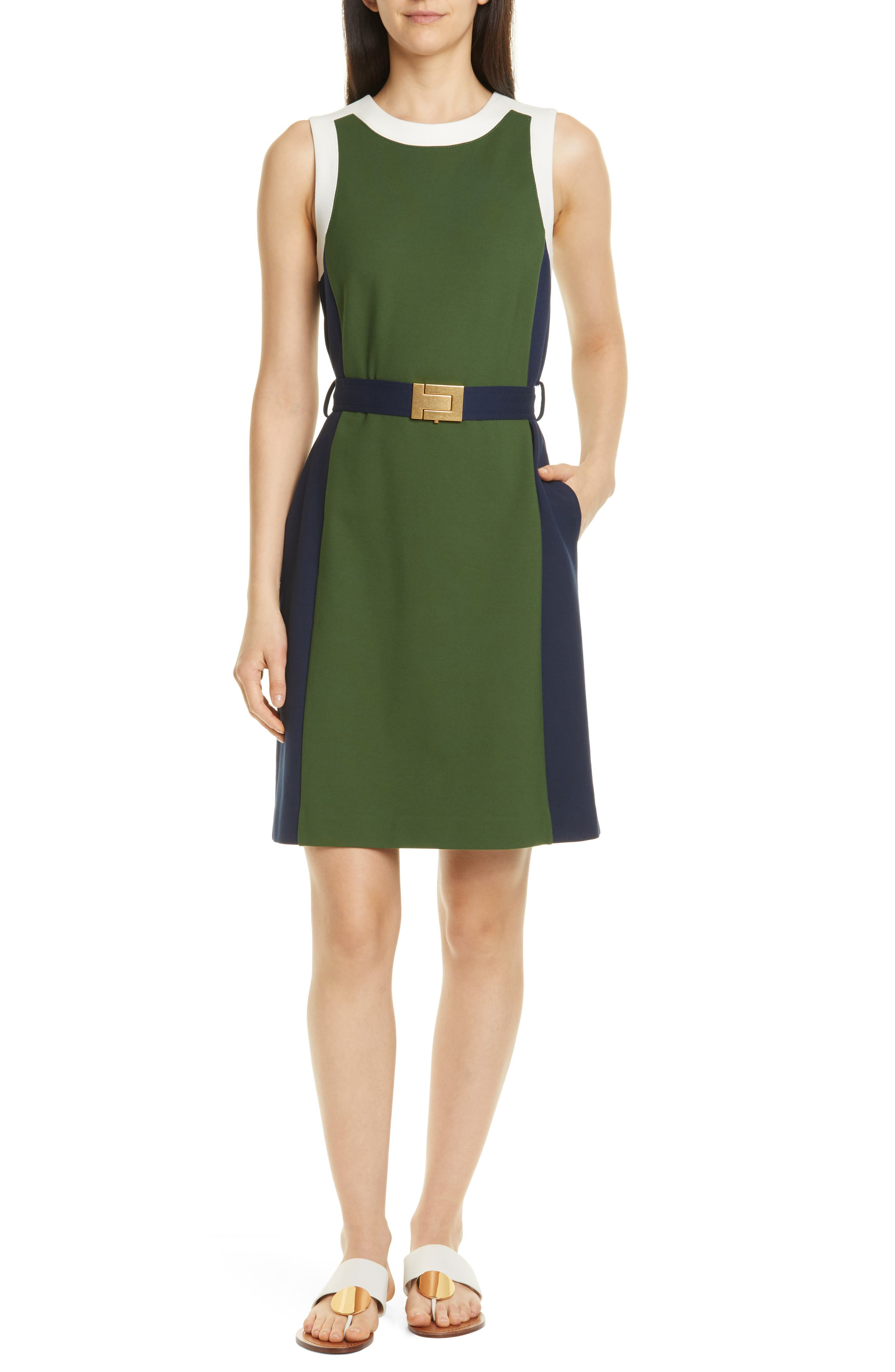 b39ccfb93c Tory Burch Belted Colorblock Ponte Dress, Green