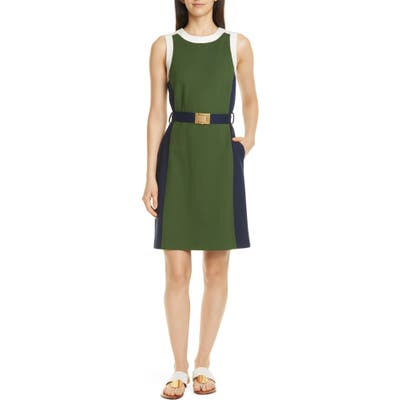 Tory Burch Belted Colorblock Ponte Dress, Green