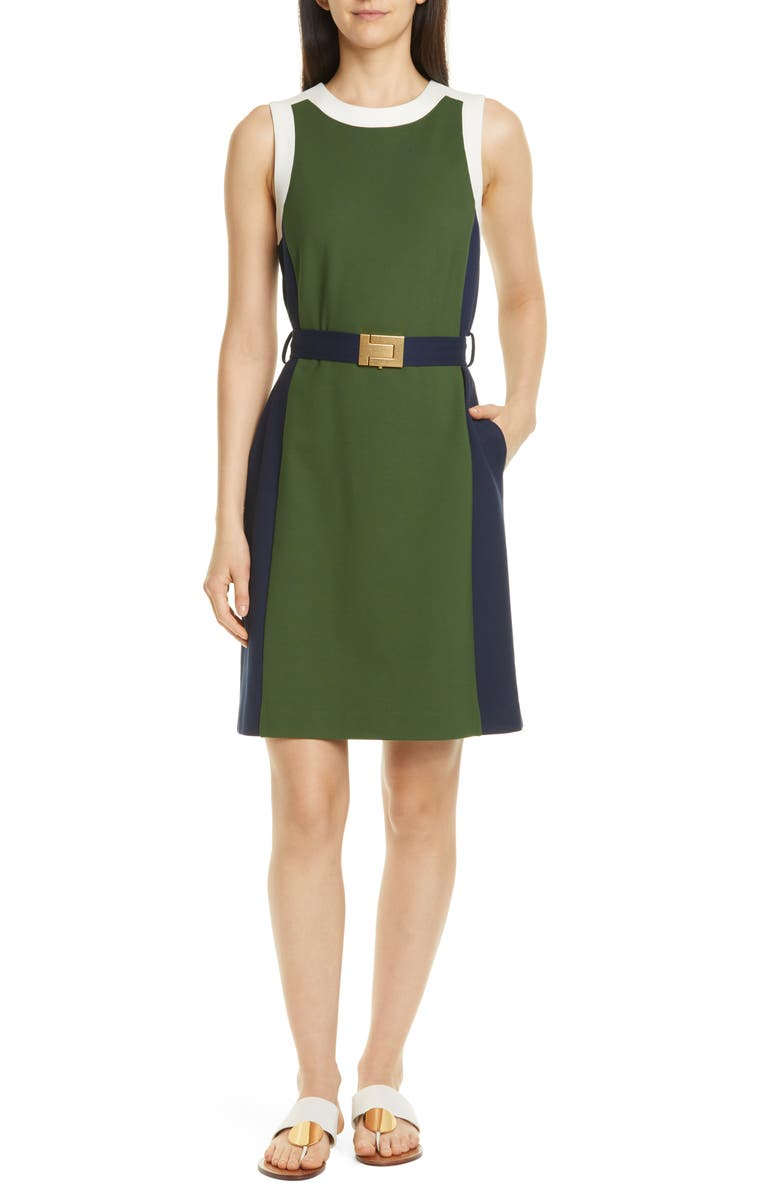TORY BURCH Belted Colorblock Ponte Dress, Main, color, EQUESTRIAN GREEN