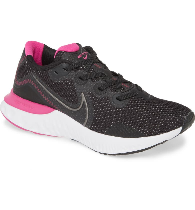 NIKE Renew Run Running Shoe, Main, color, BLACK/ METALLIC DARK GREY