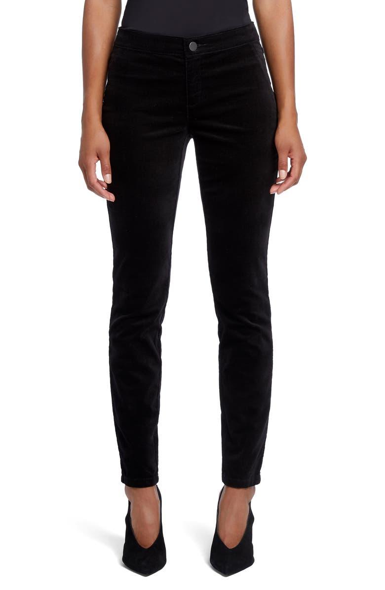 NIC+ZOE Stretch Velvet Pants, Main, color, BLACK ONYX