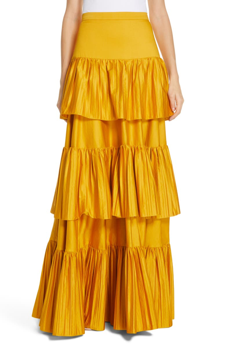 AMUR Mila Stretch Organic Cotton Tiered Maxi Skirt, Main, color, TUMERIC