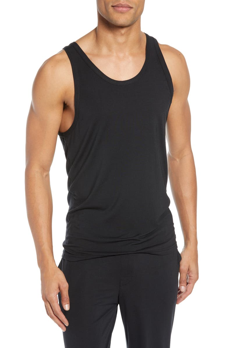CALVIN KLEIN Ultrasoft Stretch Modal Solid Tank, Main, color, BLACK