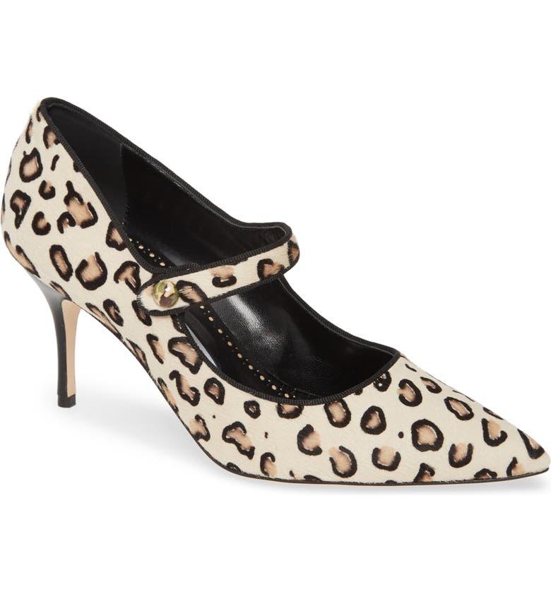 MANOLO BLAHNIK Campari Leopard Print Pointy Toe Pump, Main, color, 201