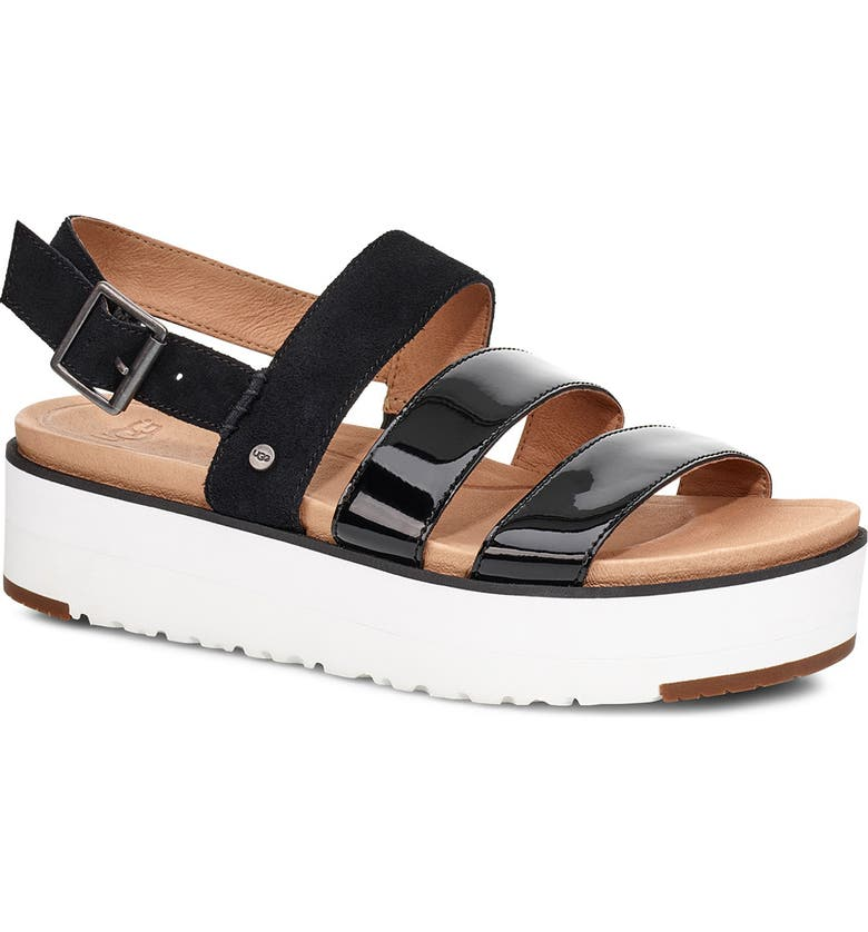 UGG<SUP>®</SUP> Braelynn Flatform Sandal, Main, color, BLACK LEATHER