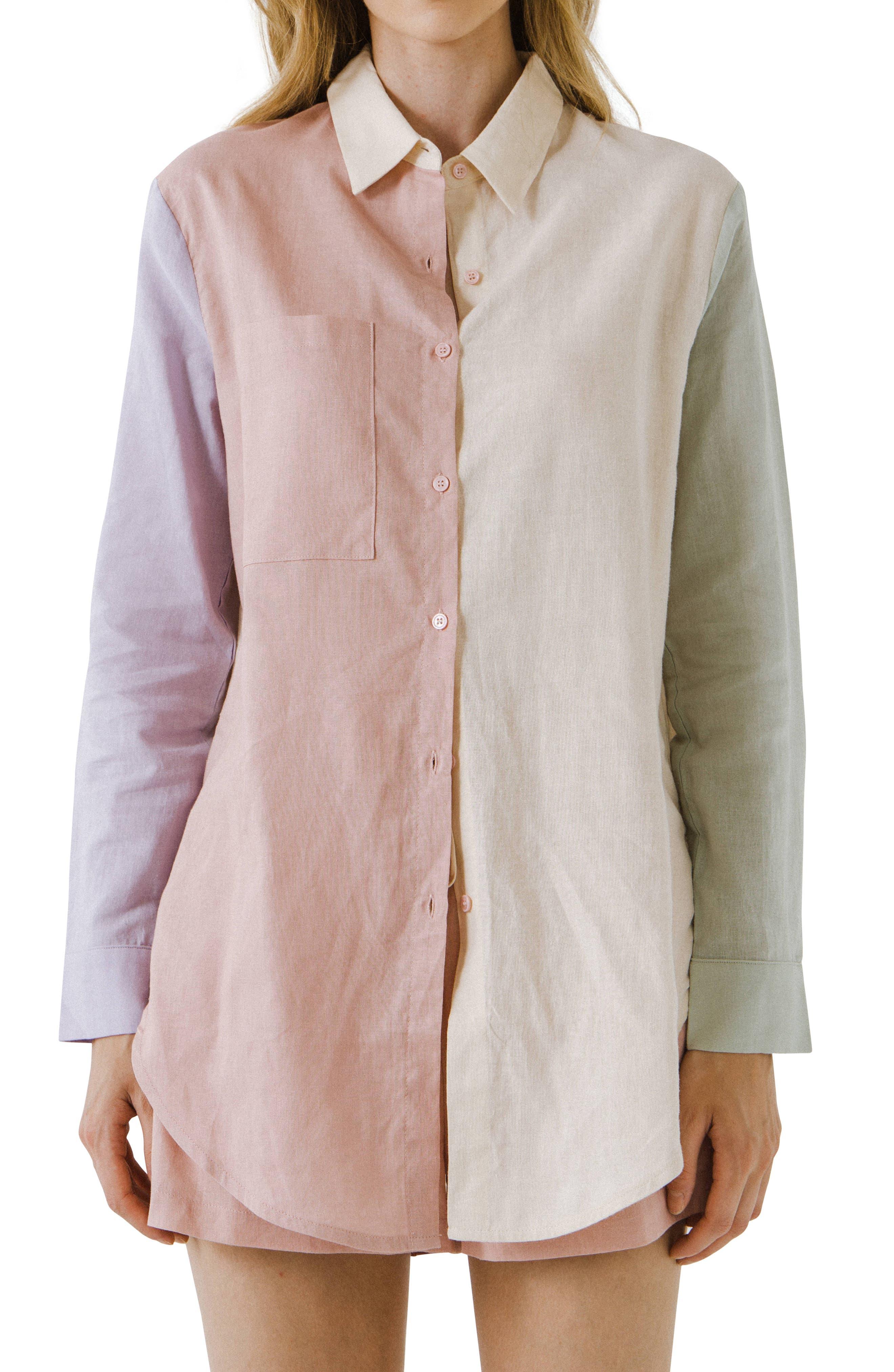 Colorblock Long Linen & Cotton Button-Up Shirt