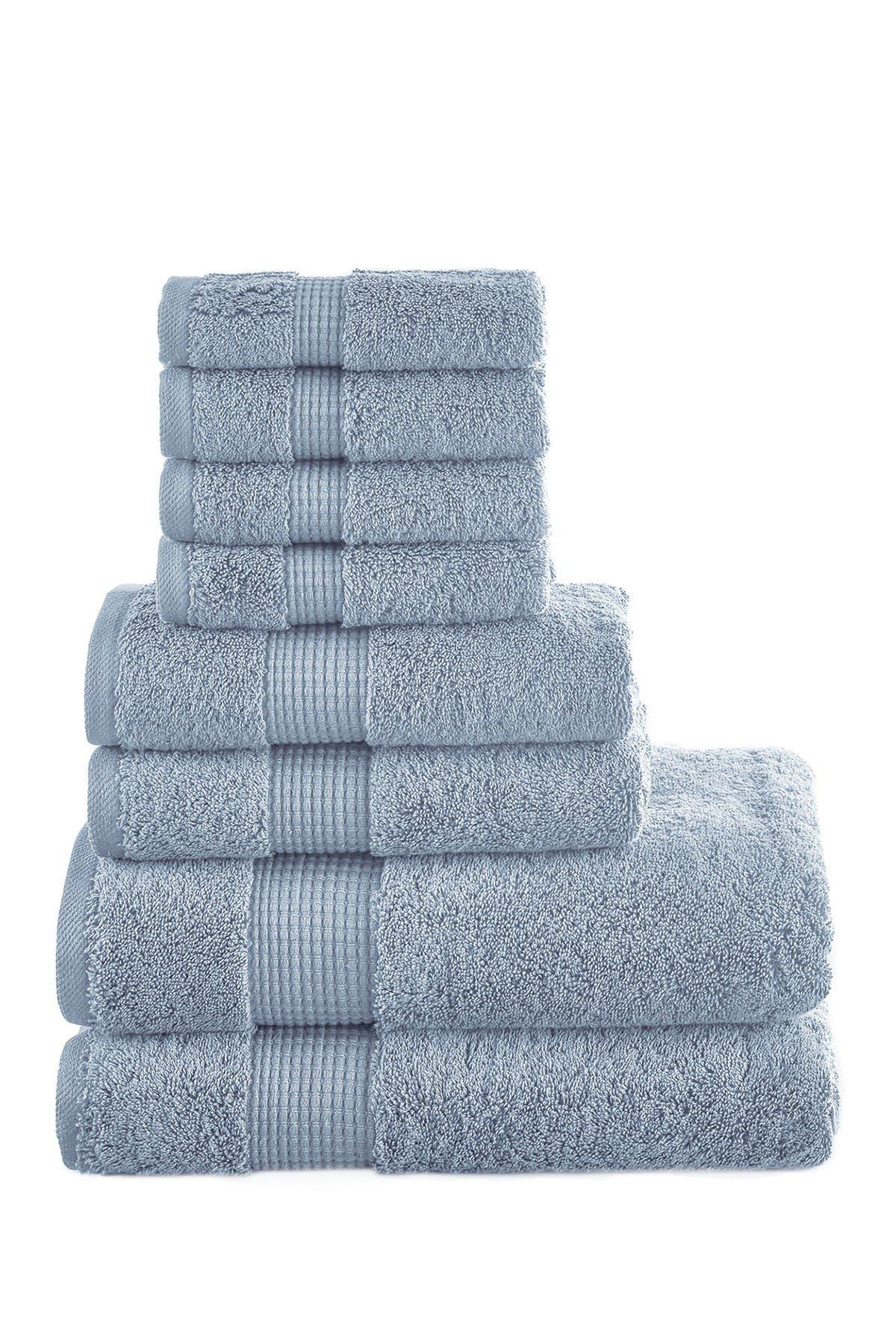 Image of Modern Threads Manor Ridge Turkish Cotton 700 GSM 8-Piece Towel Set - Blue