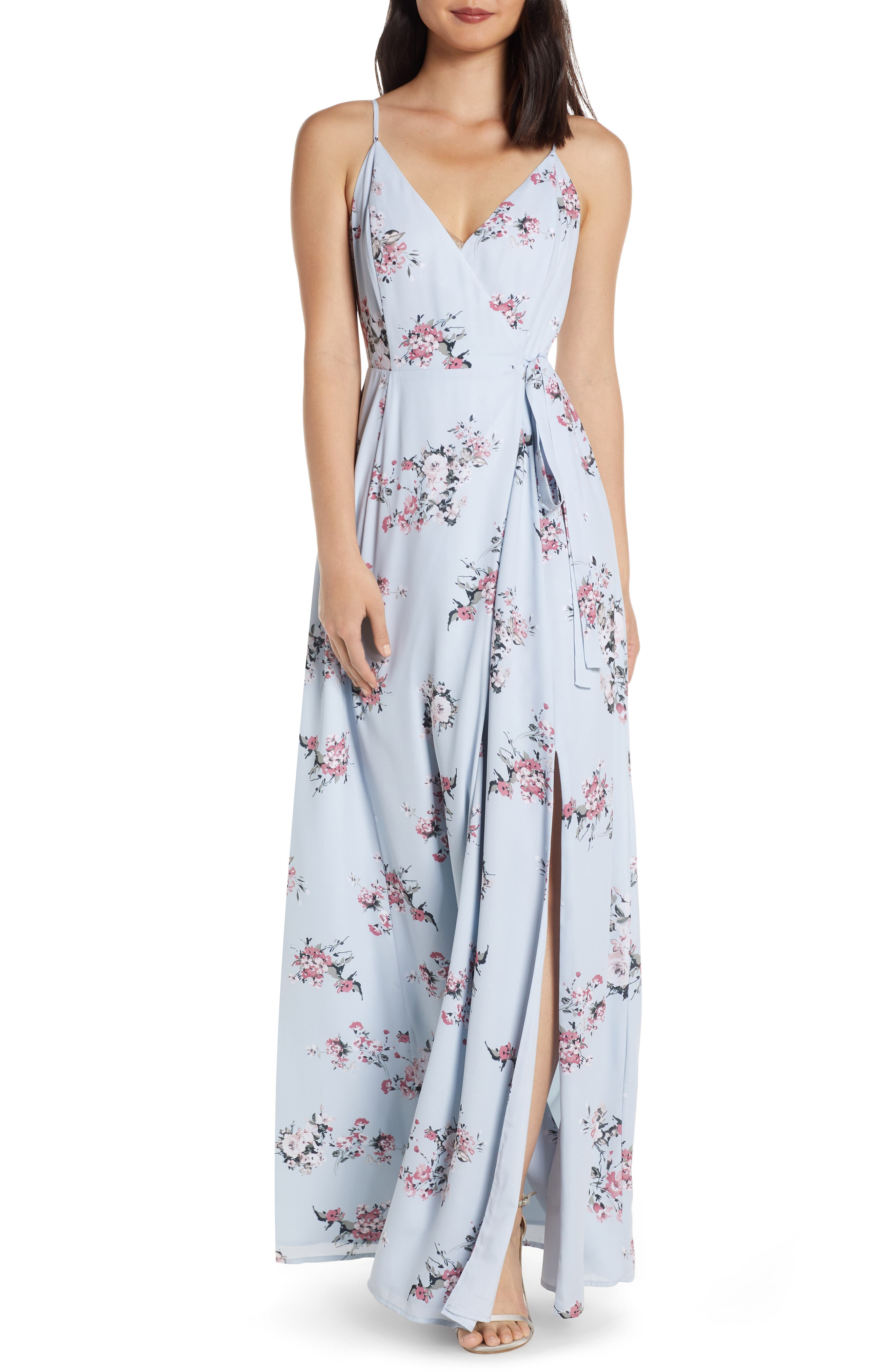 ,                             The Angelina Slit Wrap Gown,                             Main thumbnail 1, color,                             DUSTY BLUE FLORAL