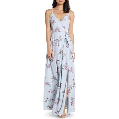 Wayf The Angelina Slit Wrap Gown, Blue