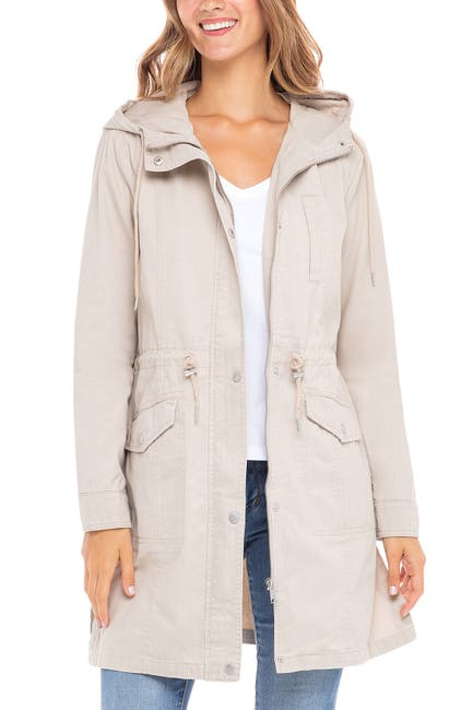 Image of Sebby Mid Length Twill Utility Jacket