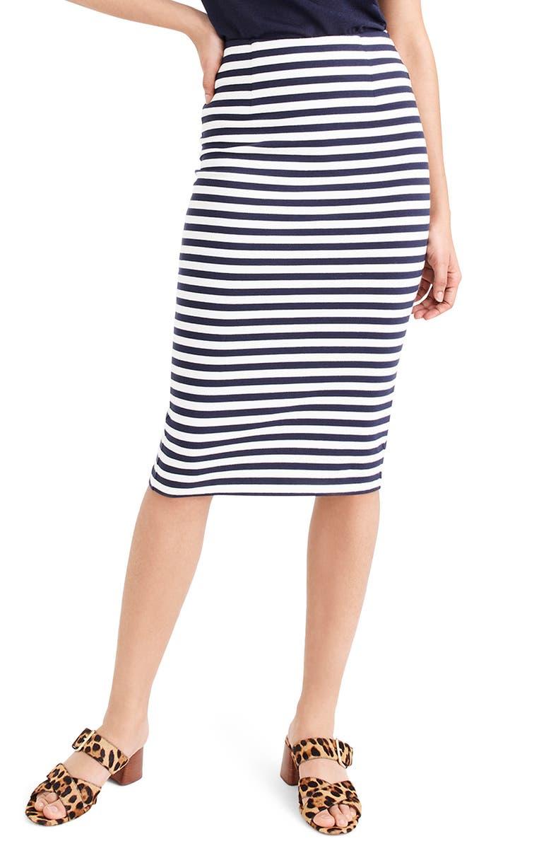 J.CREW Stripe Knit Pencil Skirt, Main, color, 400
