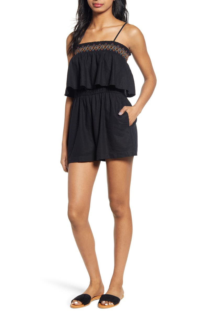 BP. Smocked Popover Linen Blend Romper, Main, color, BLACK