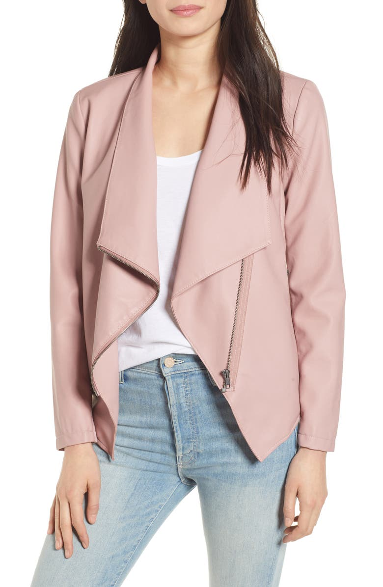 BB DAKOTA Gabrielle Faux Leather Asymmetrical Jacket, Main, color, MAUVE ROSE