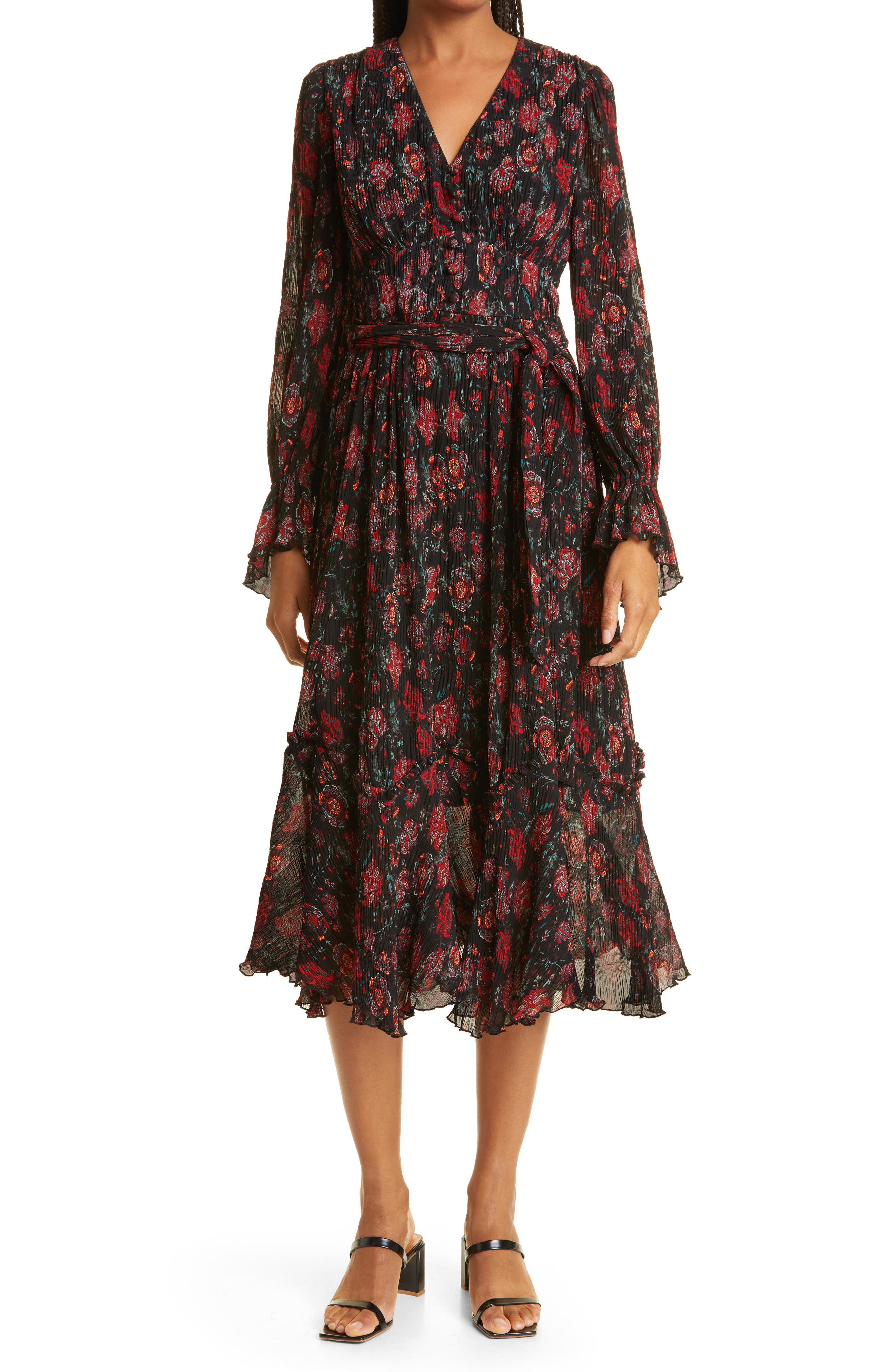 Shazia Floral Print Long Sleeve Chiffon Midi Dress
