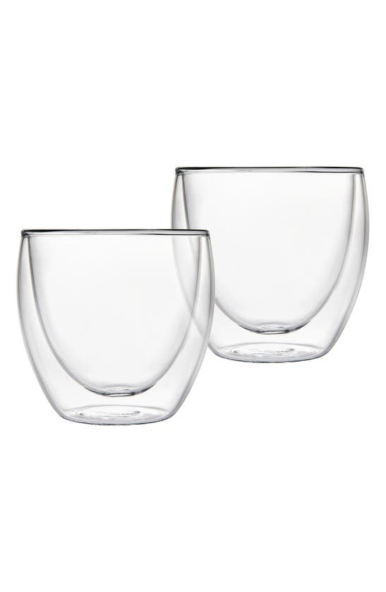 Godinger Set Of 2 Double Wall Glass Short Drinking Glasses In Clear