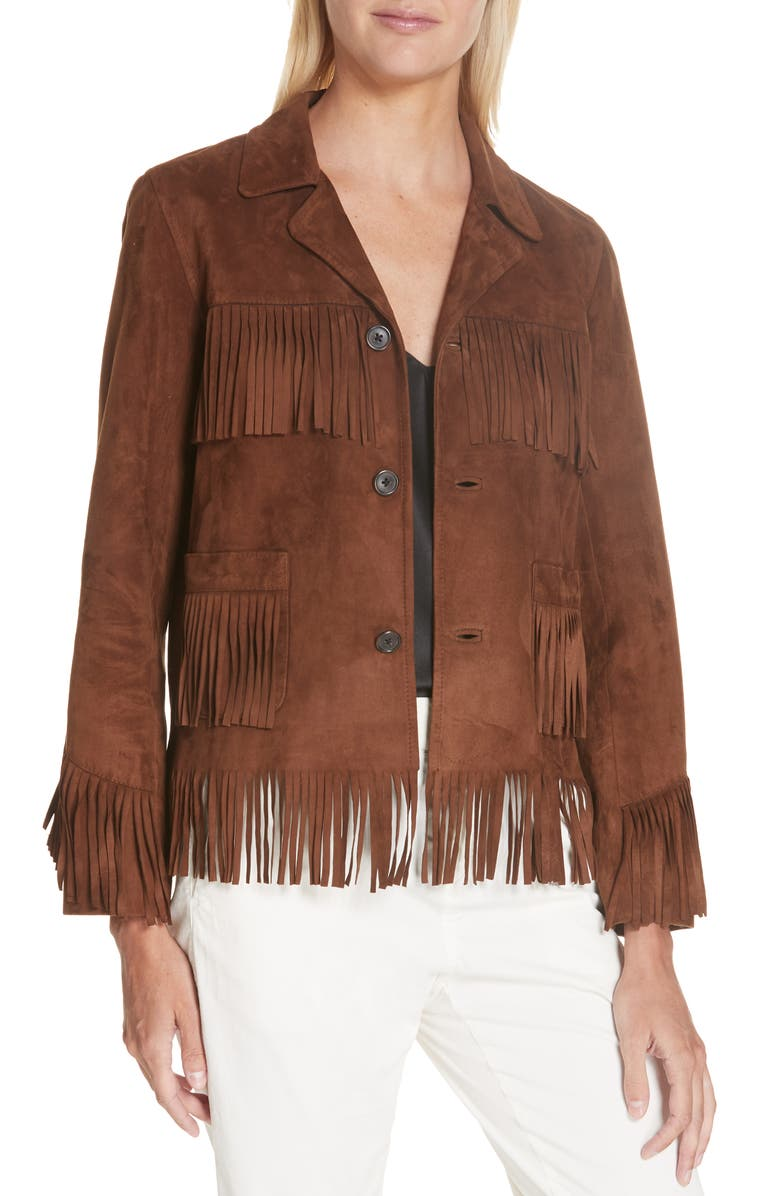 NILI LOTAN Frida Suede Fringe Jacket, Main, color, DARK COGNAC