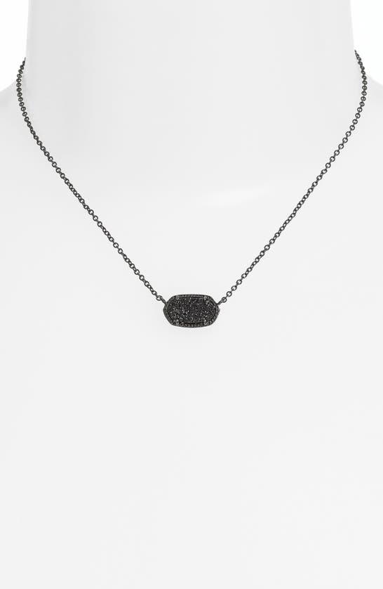 Kendra Scott Elisa Pendant Necklace In Gunmetal/ Black Drusy