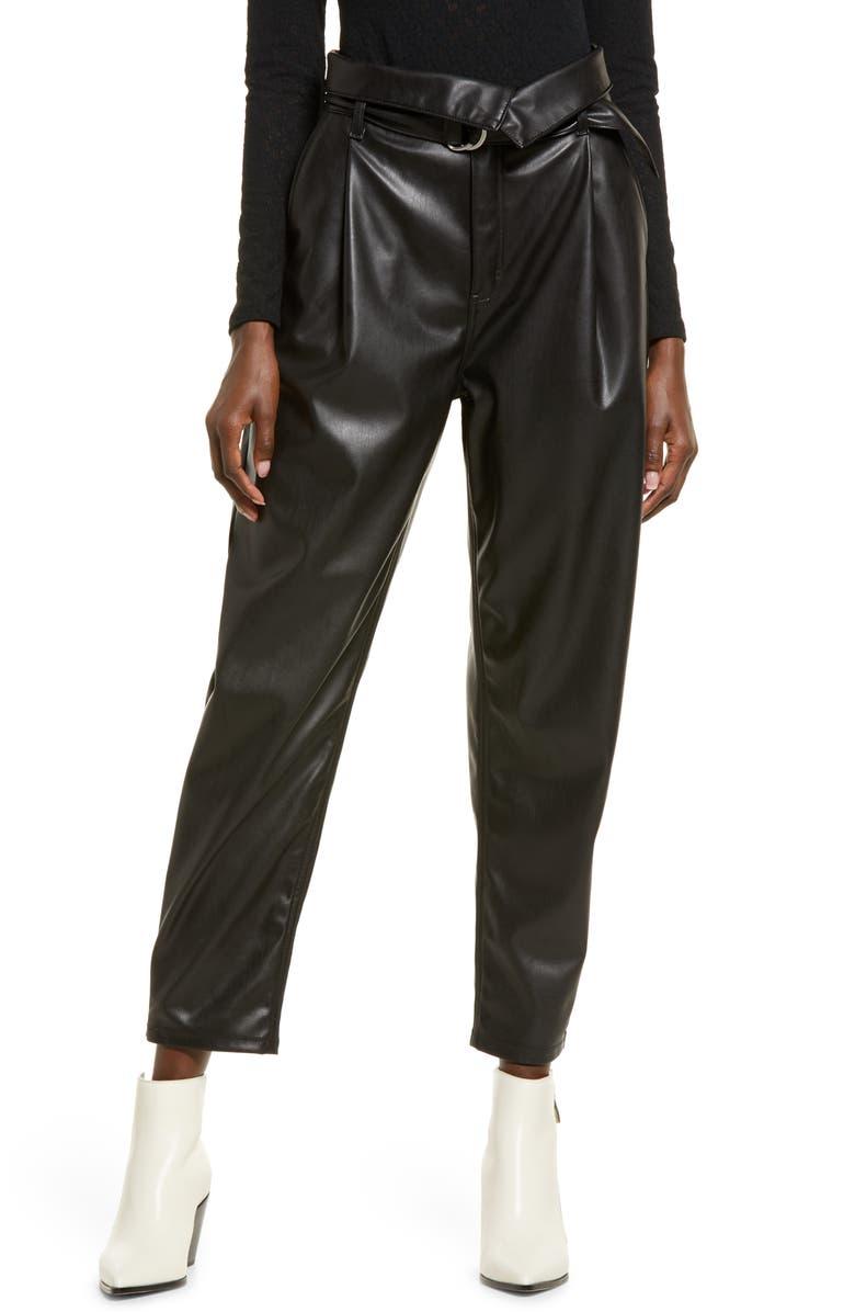 OPEN EDIT Faux Leather Trousers, Main, color, BLACK