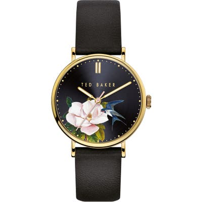 Ted Baker London Phylipa Flowers Leather Strap Watch, 37Mm