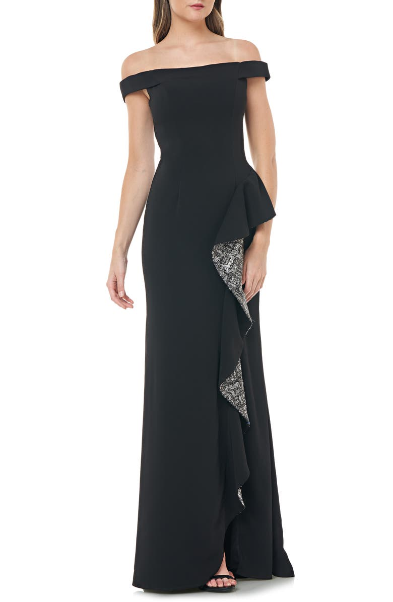 CARMEN MARC VALVO INFUSION Off the Shoulder Crepe Gown, Main, color, 013
