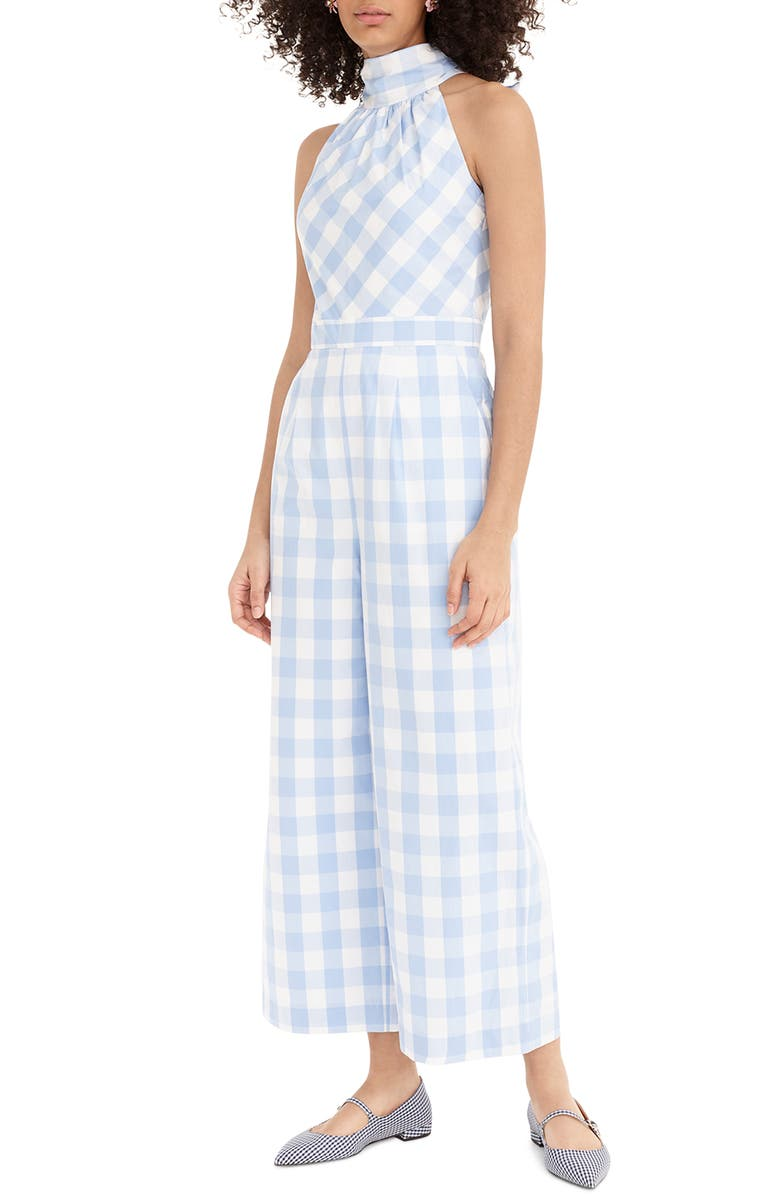 J.CREW Gingham High Neck Cotton Poplin Jumpsuit, Main, color, 904