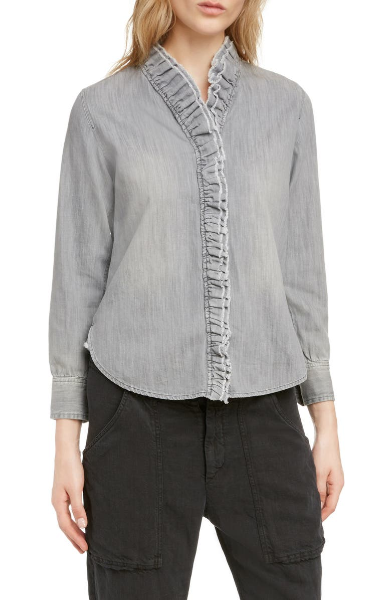ISABEL MARANT ÉTOILE Nawendy Ruffle Trim Shirt, Main, color, FADED BLACK