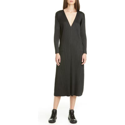 Pleats Please Issey Miyake Pleated Long Sleeve Midi Dress, (fits like 4-6 US) - Black