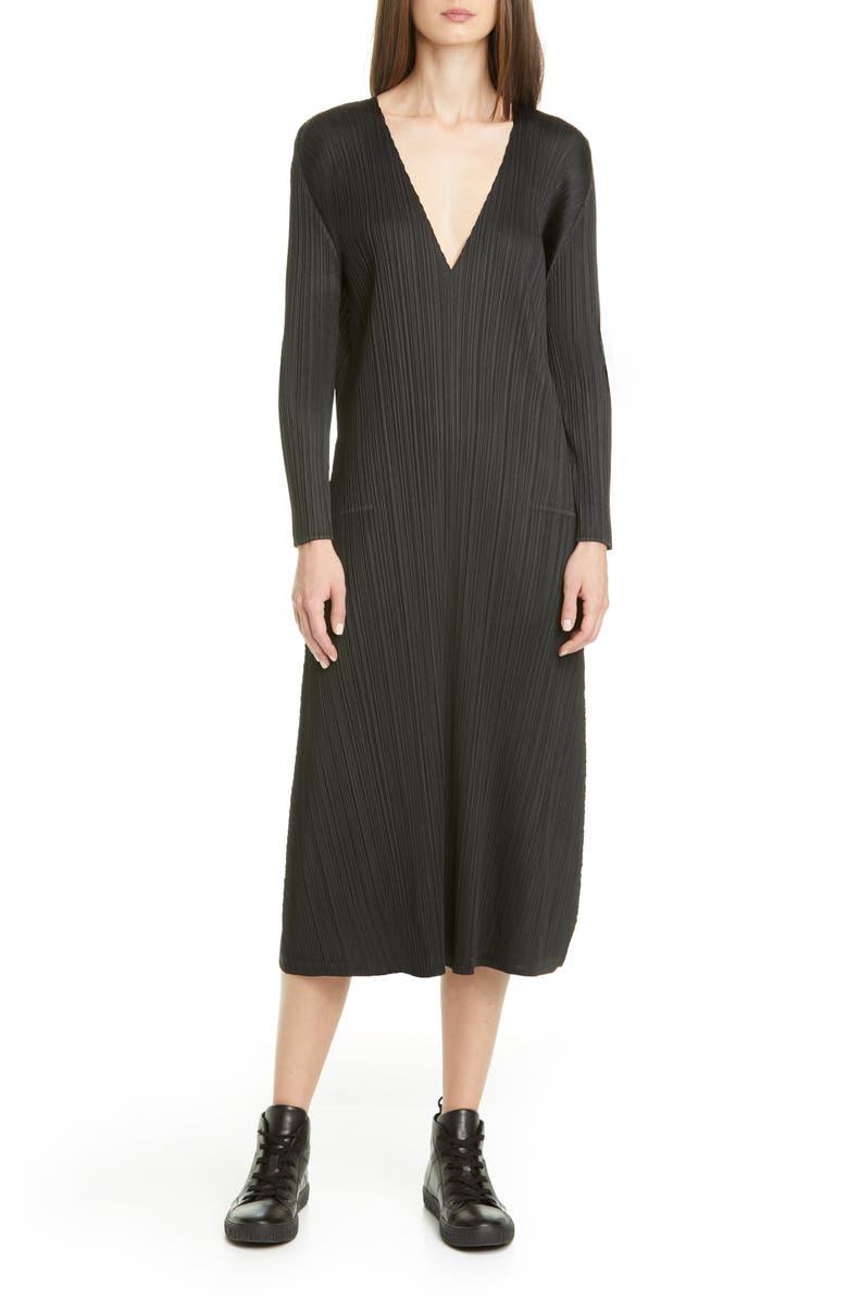 PLEATS PLEASE ISSEY MIYAKE Pleated Long Sleeve Midi Dress, Main, color, 15 BLACK