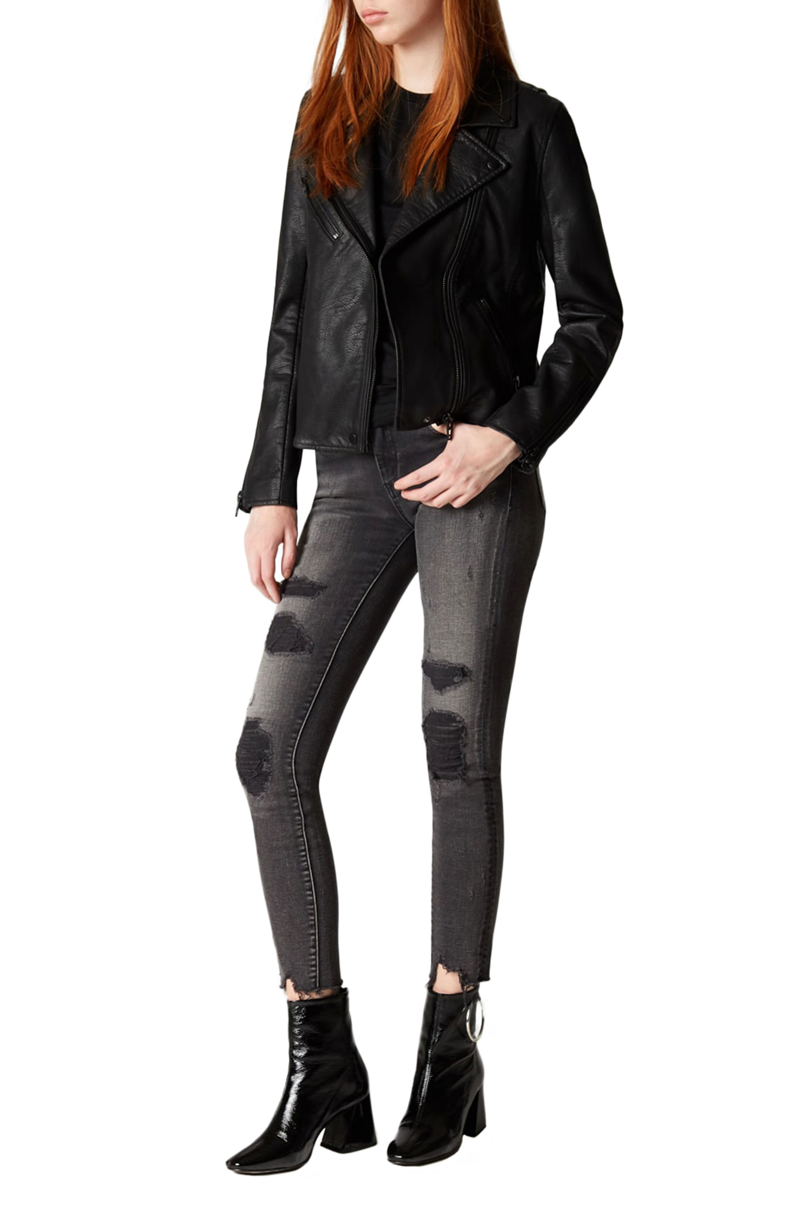 ,                             Faux Leather Moto Jacket,                             Alternate thumbnail 5, color,                             ONYX