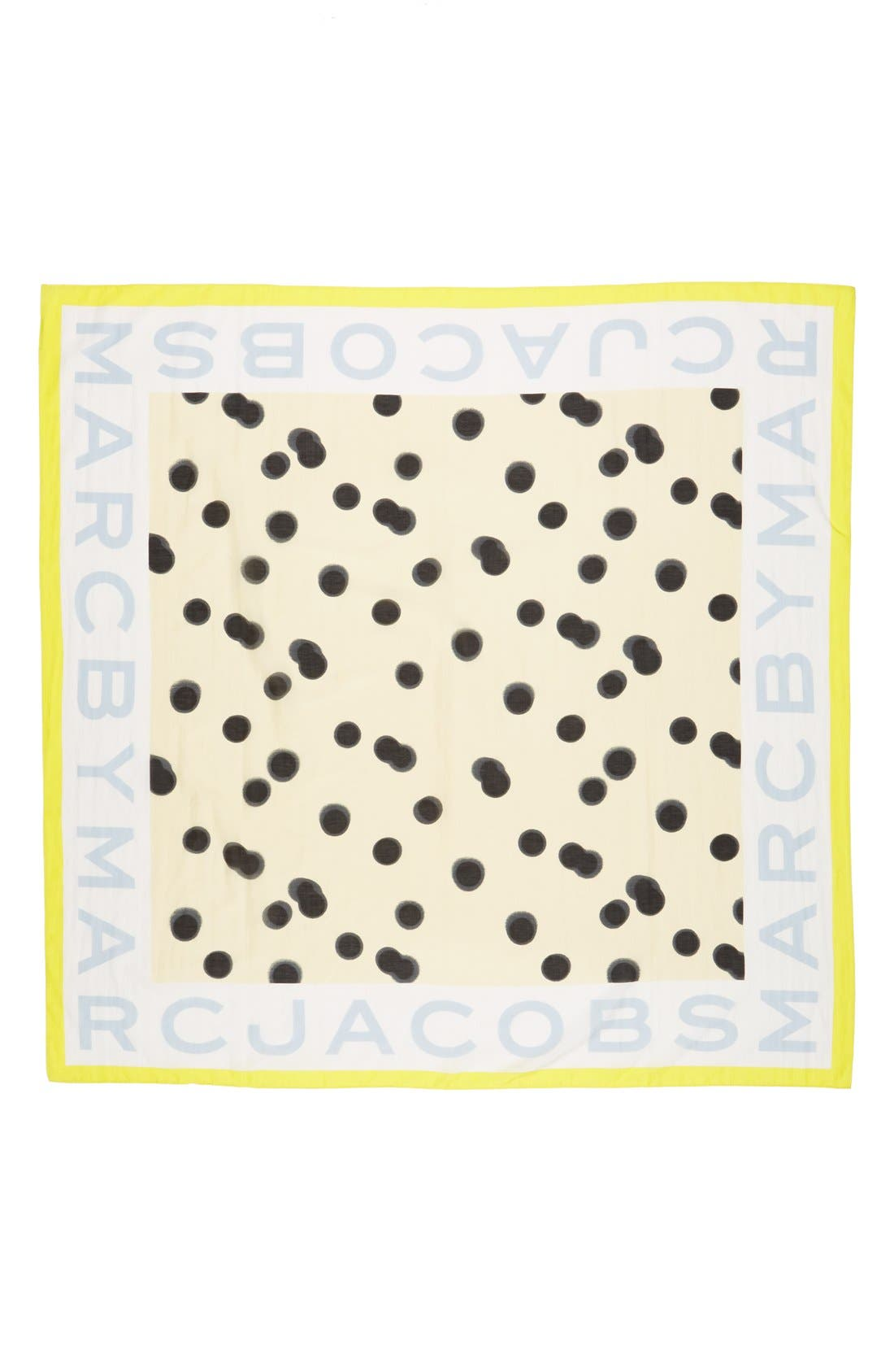 ,                             MARC BY MARC JACOBS 'Blurred Dot' Cotton & Silk Square Scarf,                             Alternate thumbnail 8, color,                             700