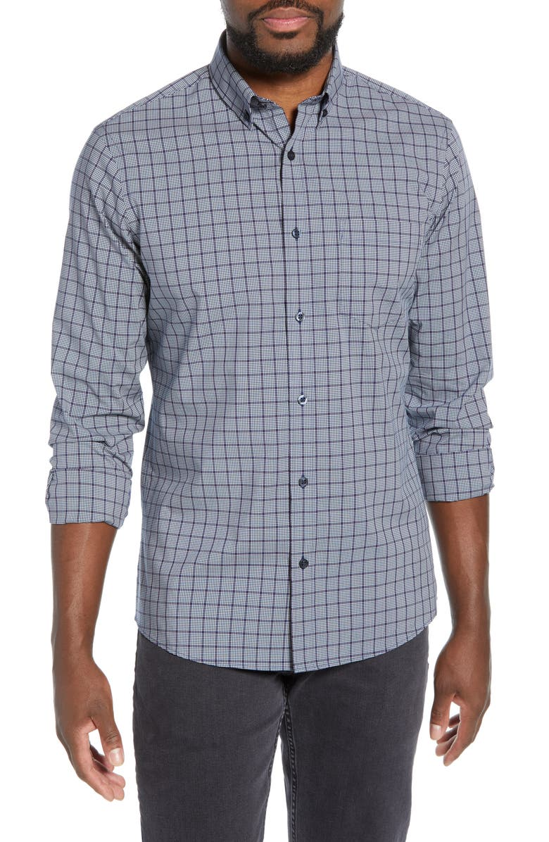 NORDSTROM MEN'S SHOP Tech-Smart Regular Fit Grid Button-Down Shirt, Main, color, BLUE ESTATE BEIGE GRID