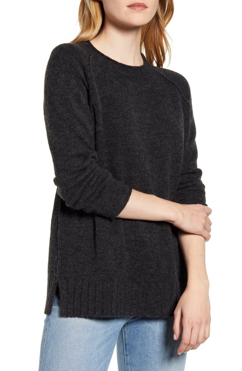 CASLON<SUP>®</SUP> Cozy Crewneck Sweater, Main, color, CHARCOAL