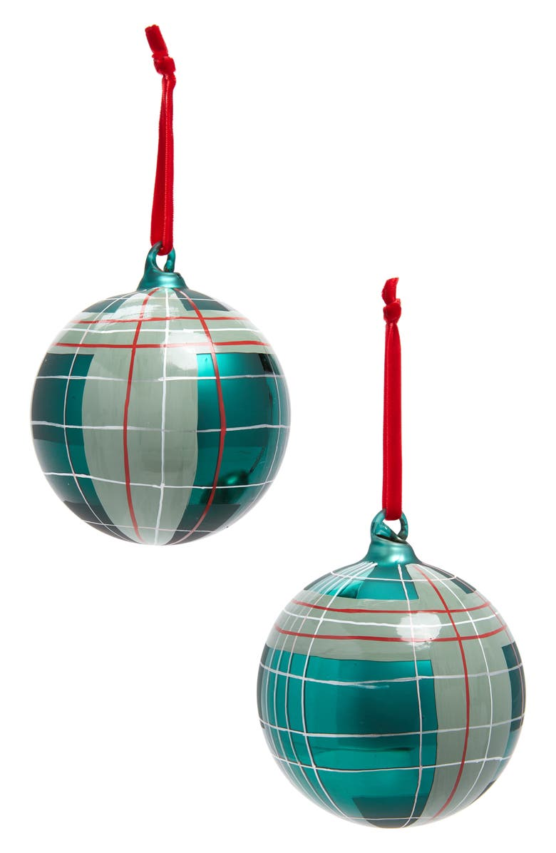 RACHEL PARCELL Set of 2 Tartan Plaid Glass Ornaments, Main, color, GREEN CADMIUM PLAID