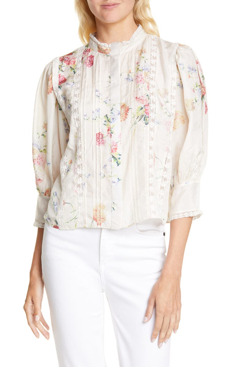 LOVESHACKFANCY Tegan Floral Silk Blouse, Main, color, NATURAL CREAM