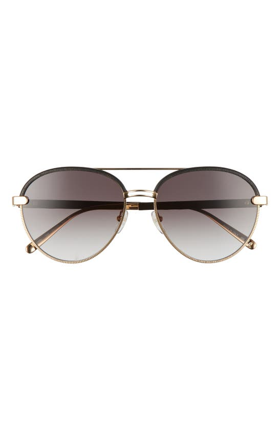 Salvatore Ferragamo 59mm Gradient Aviator Sunglasses In Rose Gold/black Leather/grey