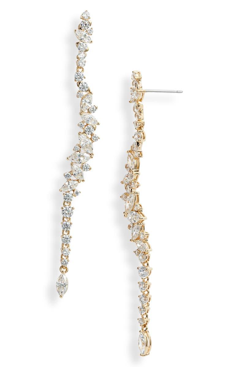 NADRI Tango Scattered Linear Earrings, Main, color, GOLD